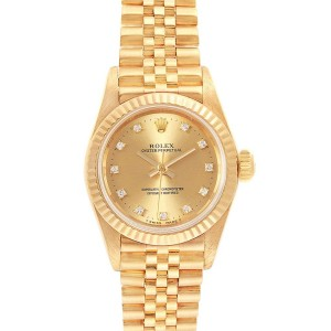 Rolex President No-Date Yellow Gold Diamond Ladies Watch 67198