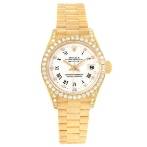 Rolex President Crown Collection Yellow Gold Diamond Ladies Watch 69158