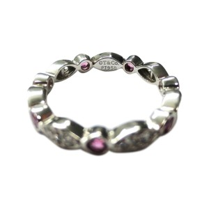 Tiffany & Co. Platinum Swing Pink Sapphires Diamonds Band Ring