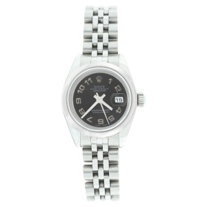 Rolex Datejust 179160 Stainless Steel Black Con Arabic Dial Womens Watch