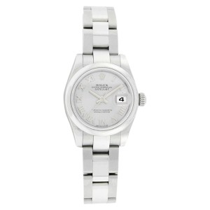 Rolex Datejust 179160 Oyster Stainless Steel Silver Roman Dial Womens Watch