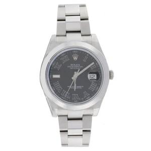 Rolex Datejust II 116300 Oyster Stainless Steel Black Roman Mens Watch