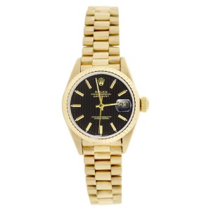 Rolex President 69178 18K Gold Black Tapistry Stick Dial Fluted Bezel Womens Watch