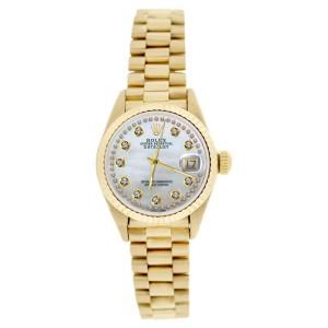 Rolex President 69178 18K Gold String MOP Diamond Dial Womens Watch