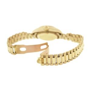Rolex President 69178 18K Gold Fluted Bezel Blue Diamond Dial Womens Watch