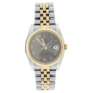 Rolex Datejust 116233GSBRJ Stainless Steel & 18K Gold Silver Sunburst Roman Mens Watch