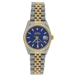 Rolex Datejust 16233 Stainless Steel & 18K Gold Fluted Bezel Blue Stick Dial Mens Watch