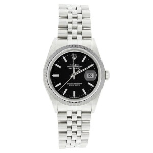 Rolex Datejust 16220 Stainless Steel Black Stick Dial Engine Turn Bezel Mens Watch