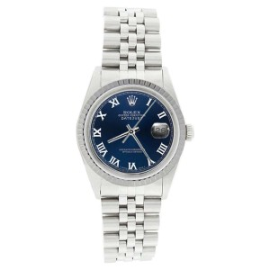 Rolex Datejust 16220 Stainless Steel Blue Roman Dial Mens Watch