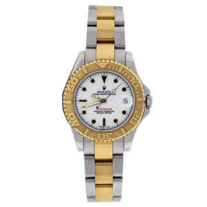 Rolex Yachtmaster 168623 Midsize Stainless Steel & 18K Gold White Dial 35mm Unisex Watch
