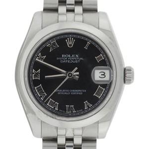 Rolex Midsize Datejust 178240 Stainless Steel Jubilee Black Roman Dial 31mm Watch