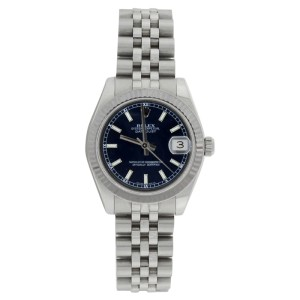 Rolex Datejust Jubilee 178274 Midsize Stainless Steel Blue Stick Dial 31mm Watch