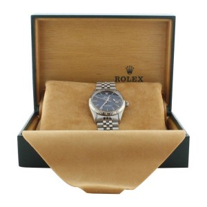 Rolex Datejust 16014 Stainless Steel Blue Stick Dial Mens Watch