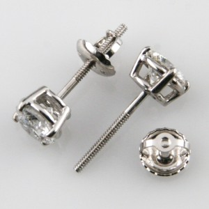 14K White Gold with 1.16ct Round Brilliant Diamond Screw-Back Stud Earrings