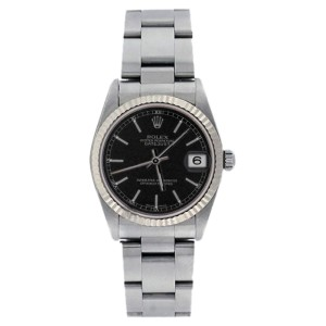 Rolex Datejust 78274 Midsize Stainless Steel Oyster Black Stick Dial 31mm Watch