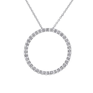 10K White Gold Diamond Eternity Pendant & Necklace