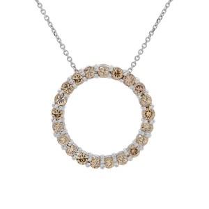 14K White Gold Chocolate Cognac Diamond Eternity Pendant & Necklace