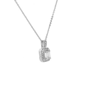 14K White Gold Diamond Pendant & Chain