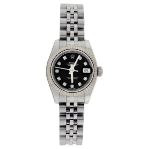 Rolex Stainless Steel Datejust 179174 Black Diamond Dial Gold Fluted Bezel Womens