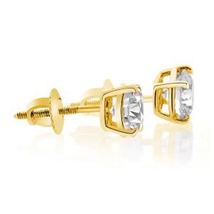 14K Yellow Gold Round Brilliant Cut Screwback Basket Stud Solid Earrings