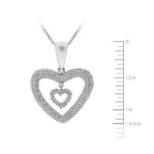 14K White Gold Round Brilliant Diamond Heart Pendant