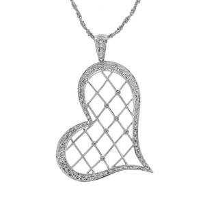 14K White Gold Round Brilliant Cut Diamond Heart Pendant Necklace