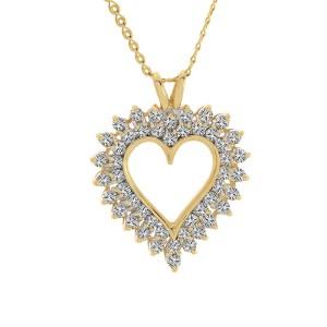 14K Yellow Gold Round Brilliant Diamond Heart Pendant