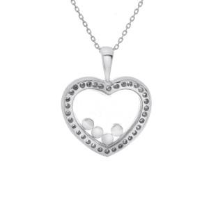 18K White Gold Round Brilliant 0.50 Carat Diamond Heart Pendant Necklace