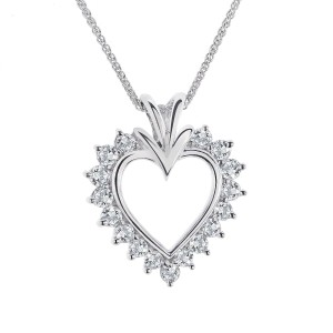 14K White Gold Diamond Heart Pendant Necklace