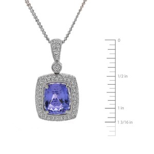 18K White Gold Diamond Tanzanite Pendant