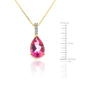 14K Yellow Gold Diamond Necklace with Pink Topaz Drop Pendant