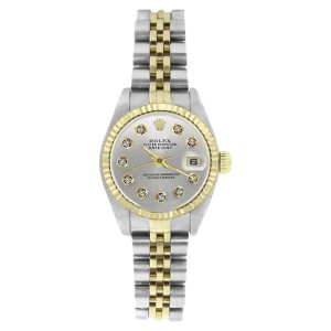Rolex Datejust 69173 Stainless Steel & Gold Silver Diamond Dial 18K Gold Bezel Womens Watch