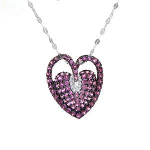 14K White Gold Diamonds Ruby Heart Pendant