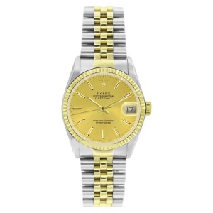 Rolex Datejust 16013 Stainless Steel & Gold Champagne Stick Dial 18K Gold Bezel Mens Watch