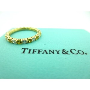 Tiffany & Co. 18K Yellow Gold Sapphire & Diamond Band Ring