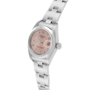 Rolex Date 26 Salmon Dial Domed Bezel Steel Ladies Watch 79160