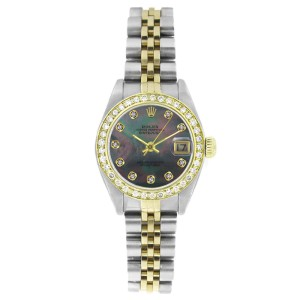 Rolex Datejust 6917 Stainless Steel & Gold Tahitian MOP Diamond Dial & Diamond Bezel Womens Watch