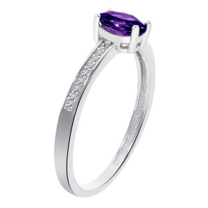 Sterling Silver Amethyst Diamond Accent Ring