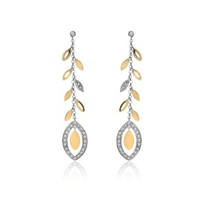 14K Yellow Gold Diamond Floral Dangling Earrings