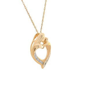 "10K Yellow Gold 0.08 ct. Diamond Channel ""Mom"" Heart Pendant Necklace"