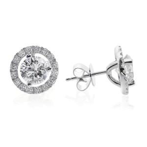 18K White Gold 1.28 ct. Diamond Halo Pave Earrings