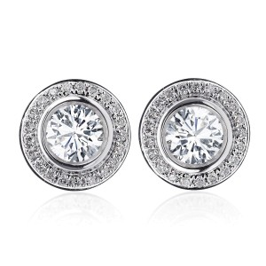 14K White Gold 1.25 ct. Bezel Set Halo Martini Diamond Earrings