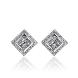 14K White Gold 1.00 ct. Round Brilliant Cut Halo Diamond Earrings