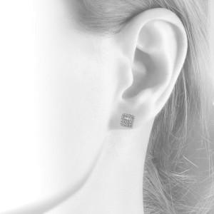 14K White Gold 0.77 ct. Princess and Round Cut Diamond Stud Earrings
