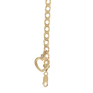 14K Yellow Gold Dangling Heart Charm Bracelet