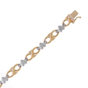 14K Yellow Gold  and 14K White Gold Satin Infinities Hearts Bracelet