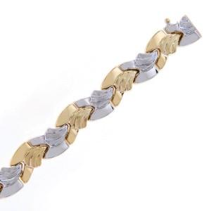 14K Two Tone Gold Fancy Wave Link Bracelet