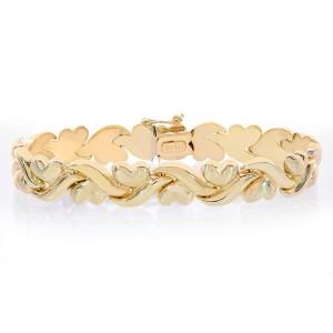 14K Yellow Gold Fancy Wave Hearts Link Bracelet