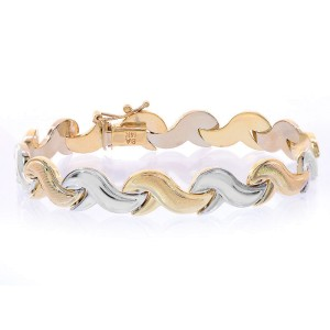 14K Two Tone Gold Fancy Wave Link Bracelet