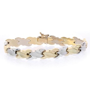 14K Two Tone Gold Fancy Diamond Cut Wave Link Bracelet